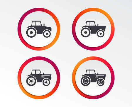 Tractor icons. Agricultural industry transport symbols. Infographic design buttons. Circle templates. Vector Illustration
