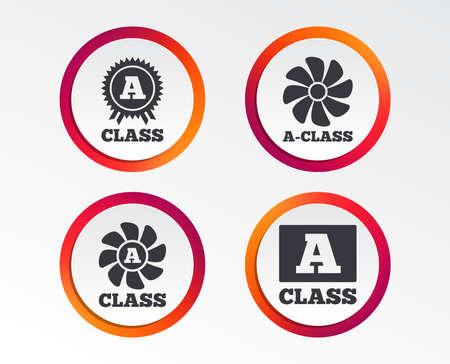 A-class award icon. A-class ventilation sign. Premium level symbols. Infographic design buttons. Circle templates. Vector Illustration
