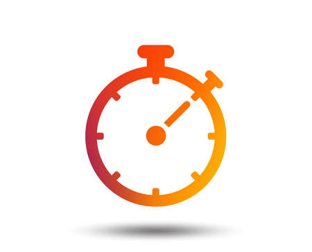 Timer sign icon. Stopwatch symbol. Blurred gradient design element. Vivid graphic flat icon. Vector