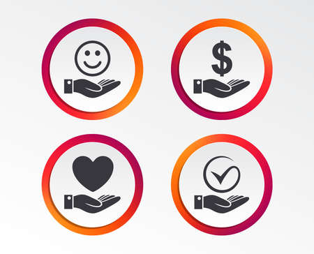 Smile and hand icon. Heart and Tick or Check symbol. Palm holds Dollar currency sign. Infographic design buttons. Circle templates. Vector