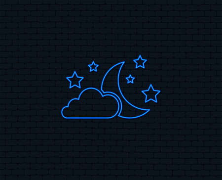 Neon light. Moon, clouds and stars icon. Sleep dreams symbol. Night or bed time sign. Glowing graphic design. Brick wall. Vector Çizim