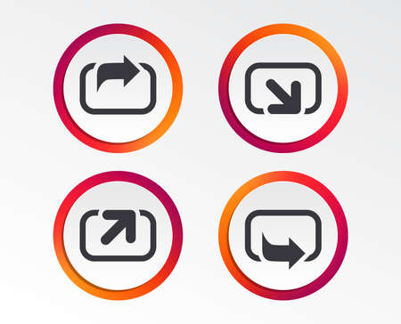 Action icons. Share symbols. Send forward arrow signs. Infographic design buttons. Circle templates. Vector
