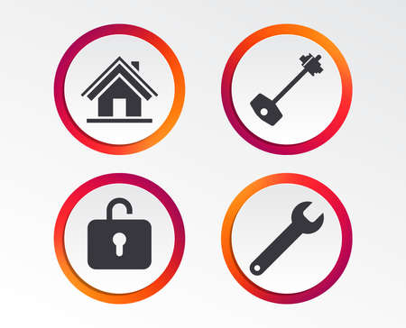 Home key icon. Wrench service tool symbol. Locker sign. Main page web navigation. Infographic design buttons. Circle templates. Vector
