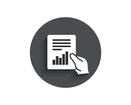 Hold Report document simple icon. Analysis Chart or Sales growth sign. Statistics data symbol. Circle flat button with shadow. Vector Illustration