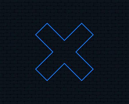 Neon light. Delete sign icon. Remove button. Glowing graphic design. Brick wall. Vector