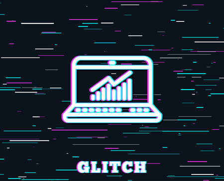 Glitch effect. Data Analysis and Statistics line icon. Report graph or Chart sign. Computer data processing symbol. Background with colored lines. Vector