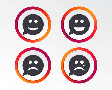 Speech bubble smile face icons. Happy, sad, cry signs. Happy smiley chat symbol. Sadness depression and crying signs. Infographic design buttons. Circle templates. Vector