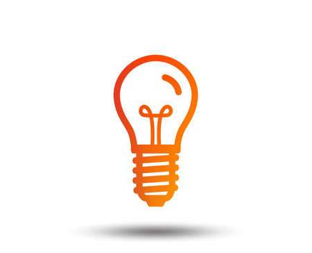 Light bulb icon. Lamp E14 screw socket symbol. Illumination sign. Blurred gradient design element. Vivid graphic flat icon. Vector