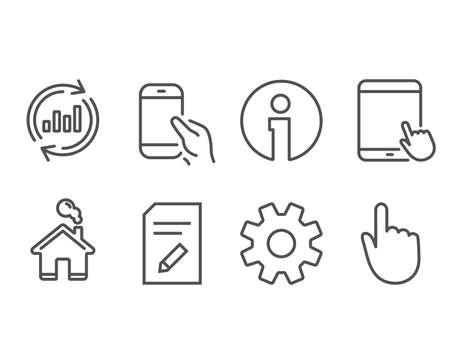 Set of Service, Update data and Edit document icons. Tablet pc, Hold smartphone and Hand click signs. Cogwheel gear, Sales chart, Page with pencil. Touchscreen gadget, Phone call, Location pointer