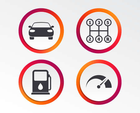 Transport icons. Car tachometer and manual transmission symbols. Petrol or Gas station sign. Infographic design buttons. Circle templates. Vector Illustration