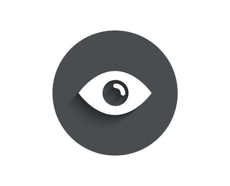 Eye simple icon. Look or Optical Vision sign. View or Watch symbol. Circle flat button with shadow. Vector