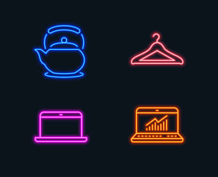 Neon lights. Set of Laptop, Teapot and Cloakroom icons. Online statistics sign. Mobile computer, Tea kettle, Hanger wardrobe. Computer data.  Glowing graphic designs. Vector