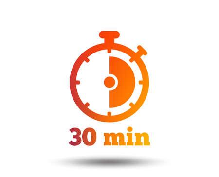 Icona del segno di timer. Simbolo del cronometro di 30 minuti. Elemento di design sfumato sfocato. Icona piatta grafica vivida. Vettore Vettoriali