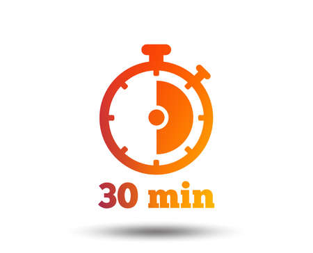 Timer sign icon. 30 minutes stopwatch symbol. Blurred gradient design element. Vivid graphic flat icon. Vector Reklamní fotografie - 102807357