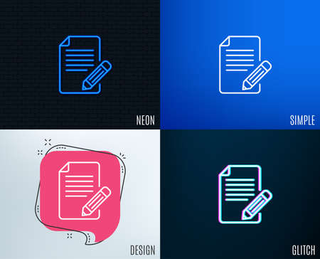 Glitch, Neon effect. Feedback line icon. Page with pencil sign. Copywriting symbol. Trendy flat geometric designs. Vector