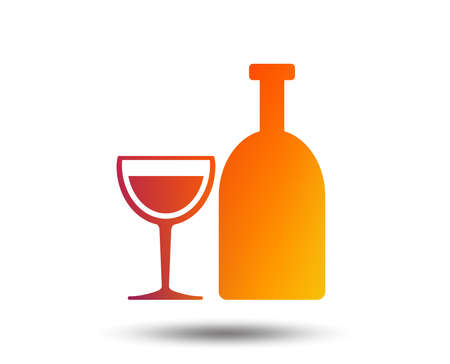 Alcohol sign icon. Drink symbol. Bottle with glass. Blurred gradient design element. Vivid graphic flat icon. Vector