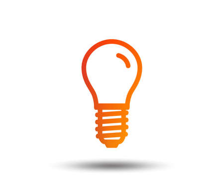 Light bulb icon. Lamp E14 screw socket symbol. Led light sign. Blurred gradient design element. Vivid graphic flat icon. Vector Illustration