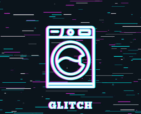 Glitch effect. Washing machine line icon. Cleaning service symbol. Laundry sign. Background with colored lines. Vector