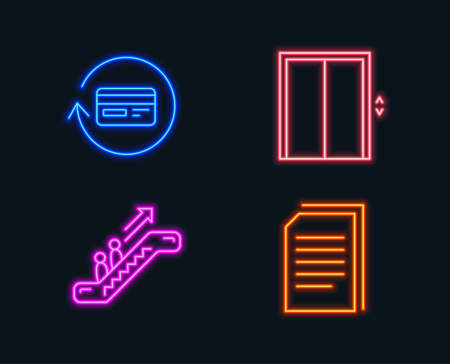 Neon lights. Set of Lift, Escalator and Refund commission icons. Copy files sign. Elevator, Cashback card, Copying documents.  Glowing graphic designs. Vector