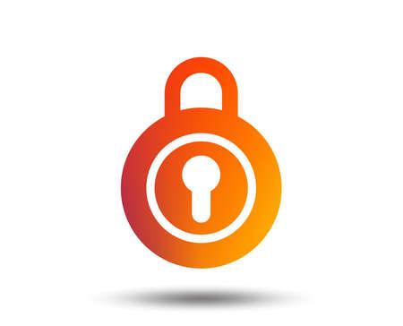 Lock sign icon. Locker symbol. Blurred gradient design element. Vivid graphic flat icon. Vector