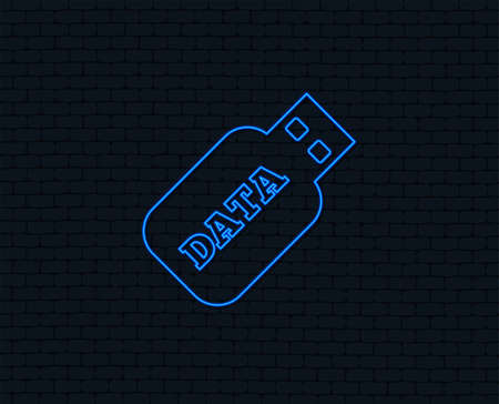 Neon light. Usb Stick sign icon. Usb flash drive button. Glowing graphic design. Brick wall. Vector