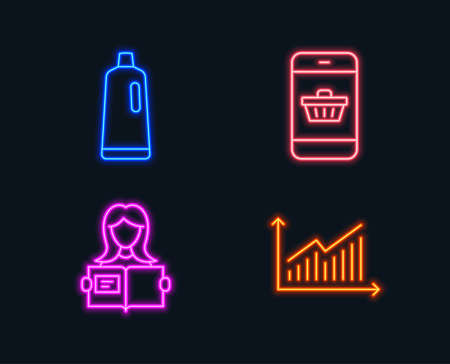 Neon lights. Set of Shampoo, Smartphone buying and Woman read icons. Graph sign. Bath cleanser, Website shopping, Girl studying. Presentation diagram.  Glowing graphic designs. Vector