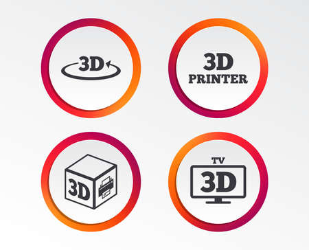 3d technology icons. Printer, rotation arrow sign symbols. Print cube. Infographic design buttons. Circle templates. Vector