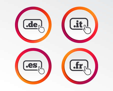 Top-level internet domain icons. De, It, Es and Fr symbols with hand pointer. Unique national DNS names. Infographic design buttons. Circle templates. Vector Illustration