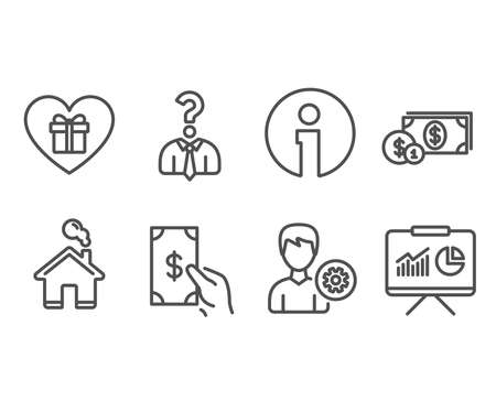 Set of Hiring employees, Dollar money and Receive money icons. Romantic gift, Support and Presentation signs. Human resources, Cash with coins, Cash payment. Surprise with love, Edit profile. Vector