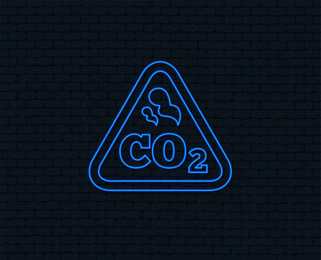 Neon light. CO2 carbon dioxide formula sign icon. Chemistry symbol. Glowing graphic design. Brick wall. Vector Çizim