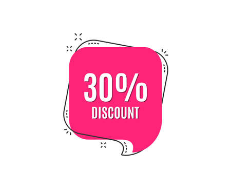 30% Discount. Sale offer price sign. Special offer symbol. Speech bubble tag. Trendy graphic design element. Vector