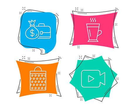 Set of Salary, Shopping bag and Latte icons. Video camera sign. Diplomat with money bag, Paper package, Tea glass mug. Movie or cinema.  Flat geometric colored tags. Vivid banners. Vector