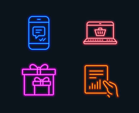 Neon lights. Set of Online shopping, Delivery boxes and Message icons. Document sign. Notebook with shopping cart, Birthday gifts, Phone messenger. File with diagram.  Glowing graphic designs. Vector Illustration