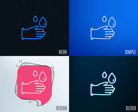 Glitch, Neon effect. Cleaning rubber gloves line icon. Hygiene sign. Washing Housekeeping equipment sign. Trendy flat geometric designs. Vector
