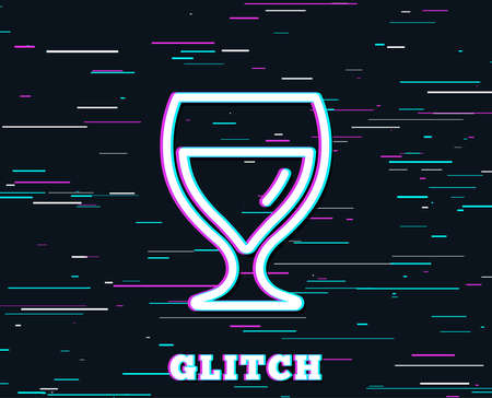 Glitch effect. Wine glass line icon. Alcohol drink sign. Beverage symbol. Background with colored lines. Vector