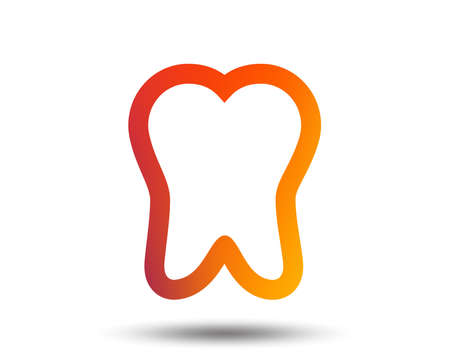 Tooth sign icon. Dental care symbol. Blurred gradient design element. Vivid graphic flat icon. Vector