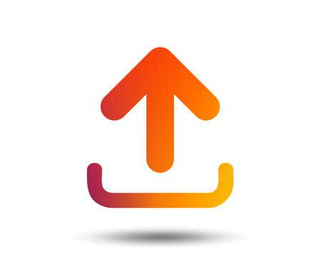 Upload sign icon. Load data symbol. Blurred gradient design element. Vivid graphic flat icon. Vector Ilustrace