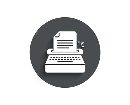 Typewriter simple icon. Copywriting sign. Writer machine symbol. Circle flat button with shadow. Vector Ilustrace