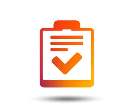 Checklist sign icon. Control list symbol. Survey poll or questionnaire feedback form. Blurred gradient design element. Vivid graphic flat icon. Vector Çizim