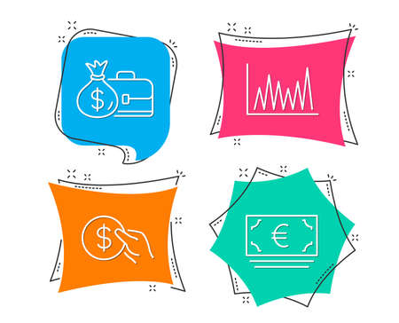 Set of Payment, Salary and Line graph icons. Euro currency sign. Usd coin, Diplomat with money bag, Market diagram. Eur banking.  Flat geometric colored tags. Vivid banners. Trendy graphic design Illustration