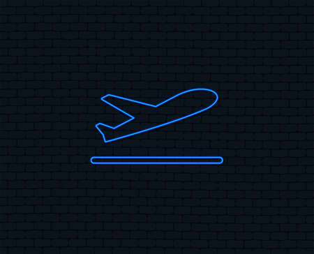 Neon light. Plane takeoff icon. Airplane transport symbol. Glowing graphic design. Brick wall. Vector