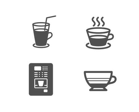 Set of Coffee cup, Cocktail and Coffee vending icons. Mocha sign. Tea mug, Fresh beverage.  Quality design elements. Classic style. Vector
