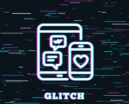 Glitch effect. Social media messages line icon. Mobile devices sign. Smartphone Love message symbol. Background with colored lines. Vector Illustration