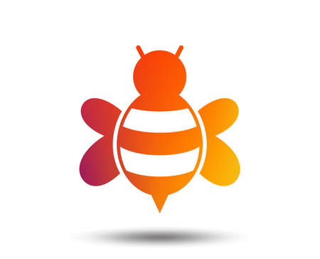 Bee sign icon. Honeybee or apis with wings symbol. Flying insect. Blurred gradient design element. Vivid graphic flat icon. Vector