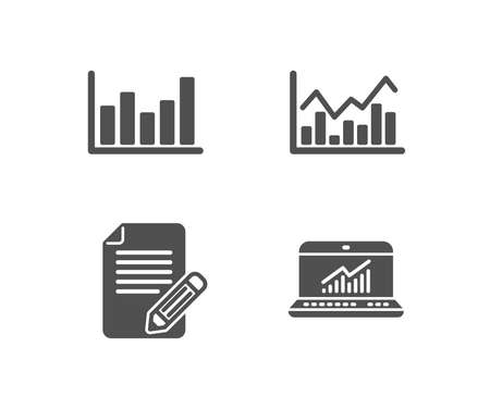 Set of Column chart, Infochart and Article icons. Online statistics sign. Financial graph, Stock exchange, Feedback. Computer data.  Quality design elements. Classic style. Vector 일러스트
