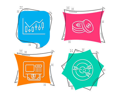 Set of Financial diagram, Savings and Atm icons. Targeting sign. Candlestick chart, Cash coins, Money withdraw. Target with arrows.  Flat geometric colored tags. Vivid banners. Trendy graphic design