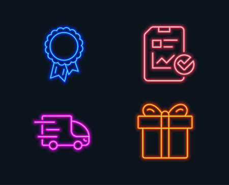 Neon lights. Set of Report checklist, Truck delivery and Success icons. Gift box sign. Sales growth file, Express service, Award reward. Present package.  Glowing graphic designs. Vector