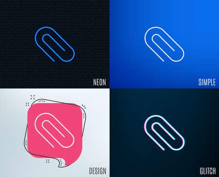 Glitch, Neon effect. Attach line icon. Attachment paper clip sign. Office stationery object symbol. Trendy flat geometric designs. Vector