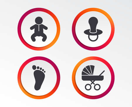 Baby infants icons. Toddler boy with diapers symbol. Buggy and dummy signs. Child pacifier and pram stroller. Child footprint step sign. Infographic design buttons. Circle templates. Vector Illustration