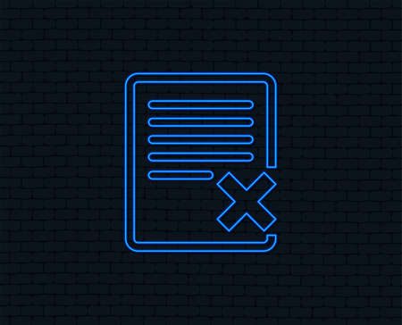 Neon light. Delete file sign icon. Remove document symbol. Glowing graphic design. Brick wall. Vector Ilustração